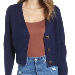 Leith portrait neck sweater cardigan cropped large